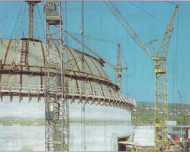 Das Kernkraftwerk Obrigkeim im Bau