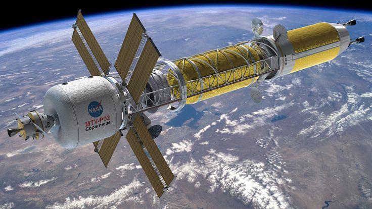 Grafik: Konzept des Marsraumschiffs MTV Copernicus mit nuklearthermischen Raketentriebwerken. Quelle: NASA